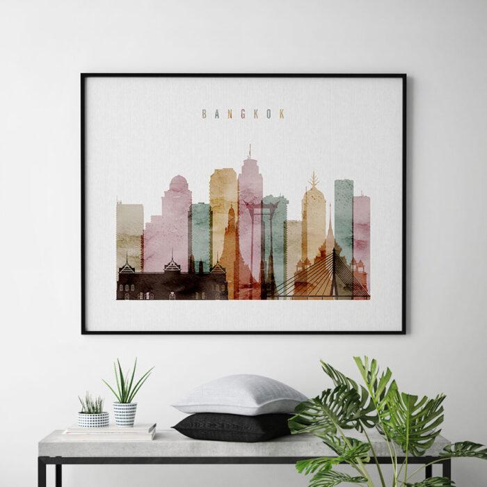 Bangkok skyline print watercolor 1 landscape second