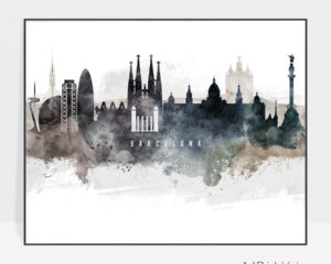Barcelona art poster watercolor
