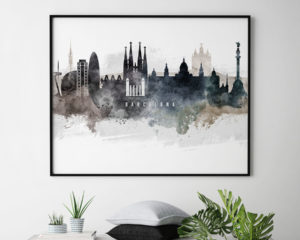 Barcelona art poster watercolor second