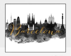 Barcelona cityscape watercolor poster black white gold