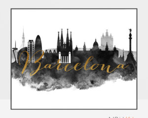 Barcelona cityscape watercolor poster black white gold