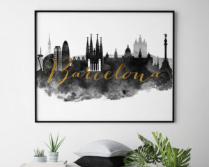 Barcelona cityscape watercolor poster black white gold second