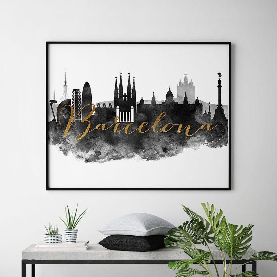 Barcelona cityscape watercolor poster black white gold second