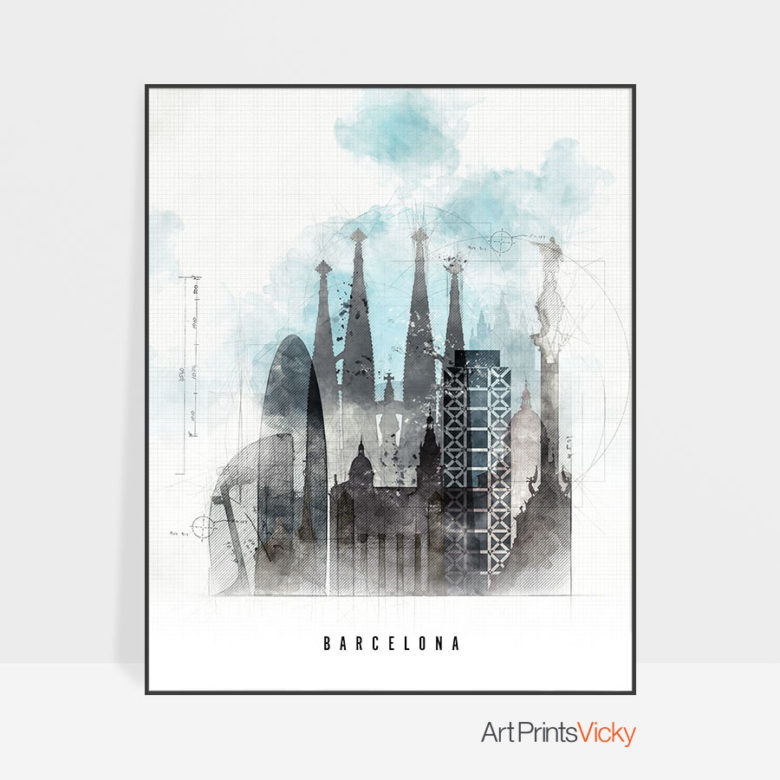 Barcelona skyline art print urban