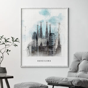 Barcelona skyline art print urban second