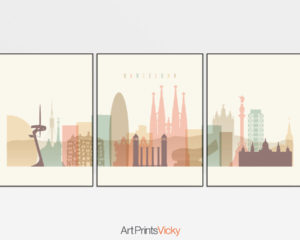 Barcelona cream pastel skyline set of 3 prints