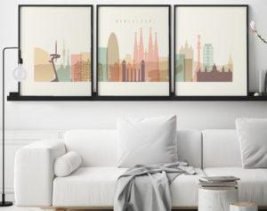 Pastel Interieur Barcelona : Barcelona cream pastel skyline set of prints art prints vicky