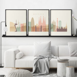Barcelona cream pastel skyline set of 3 prints second