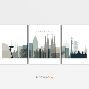 Barcelona earth tones 4 skyline set of 3 prints