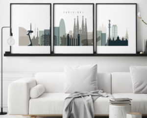 Barcelona earth tones 4 skyline set of 3 prints second