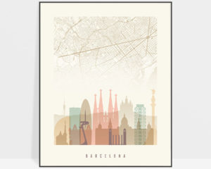 Barcelona map print skyline poster pastel cream