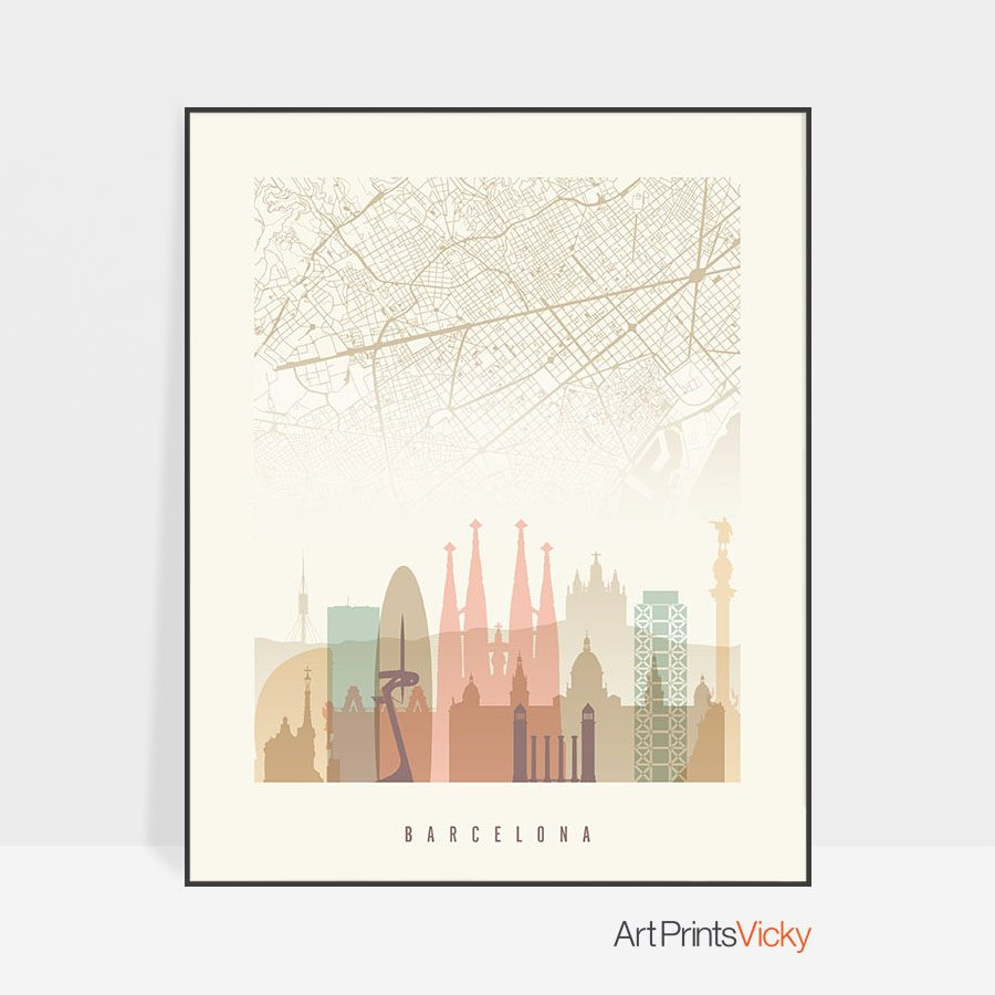 Barcelona Map Skyline Pastel Cream Print