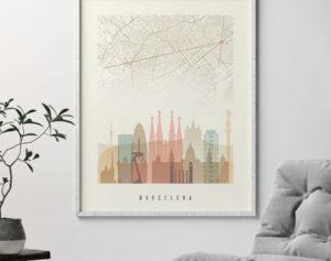 Pastel Interieur Barcelona : Barcelona map print skyline poster pastel cream art prints vicky