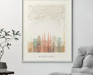 Barcelona map print skyline poster pastel cream second