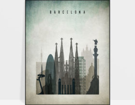 Barcelona poster distressed 3