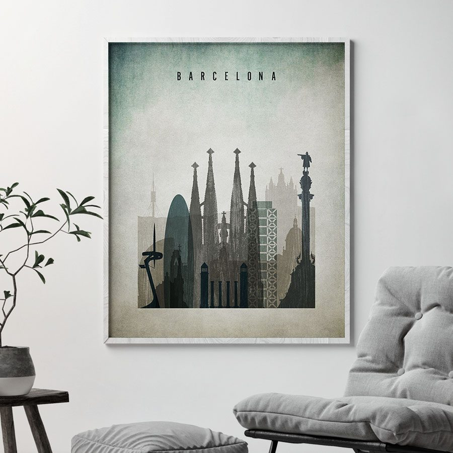 Barcelona poster distressed 3 second
