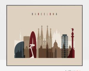 Barcelona print earth tones 2 landscape