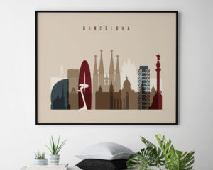 Barcelona print earth tones 2 landscape second