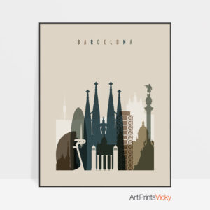 Barcelona art print earth tones 3