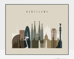 Barcelona art print landscape earth tones 3