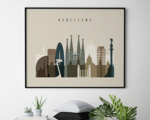 Barcelona art print landscape earth tones 3 second