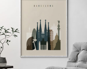 Barcelona art print earth tones 3 second