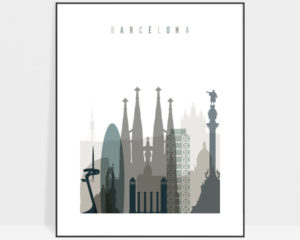 Barcelona art print skyline earth tones 4
