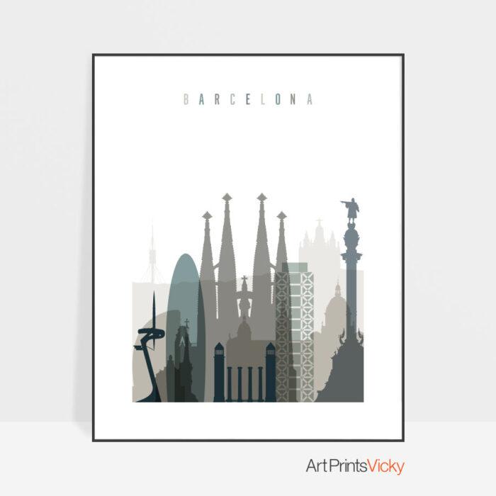 Barcelona art print skyline earth tones 4