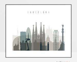 Barcelona skyline print landscape earth tones 4