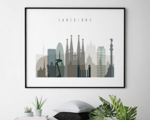 Barcelona skyline print landscape earth tones 4 second