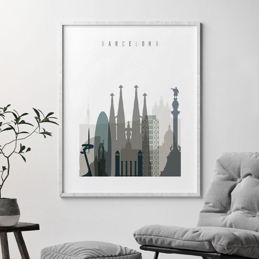 Barcelona art print skyline earth tones 4 second