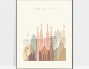 Barcelona art print skyline pastel cream