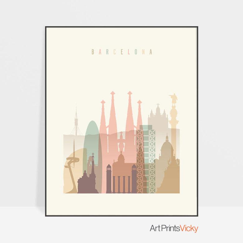Barcelona art print skyline pastel cream