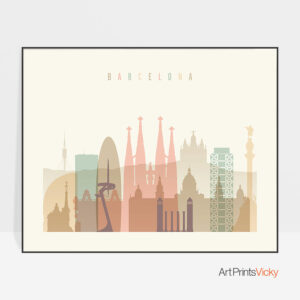 Barcelona poster skyline pastel cream landscape