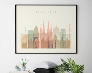Barcelona poster skyline pastel cream landscape second