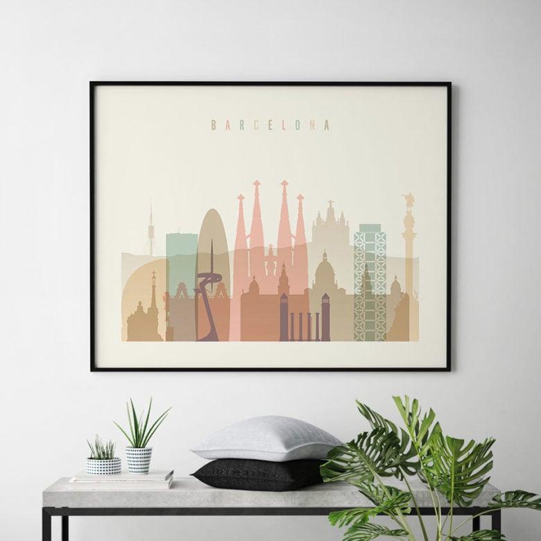 Barcelona poster skyline pastel cream landscape second