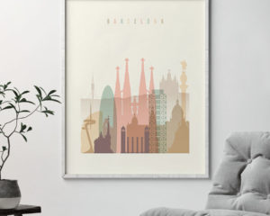 Barcelona art print skyline pastel cream second