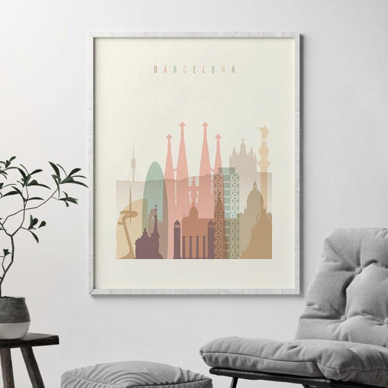 Barcelona art print skyline pastel cream second