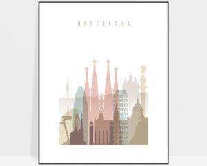 Barcelona wall art pastel white