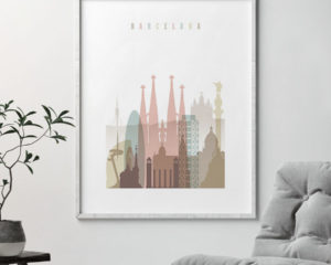 Barcelona wall art pastel white second