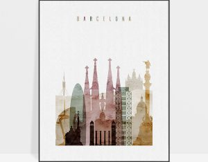 Barcelona skyline art print watercolor 1