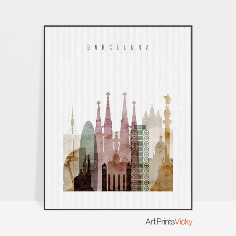 Barcelona skyline art print watercolor 1