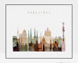 Barcelona skyline print watercolor 1 landscape