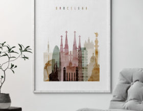 Barcelona skyline art print watercolor 1 second