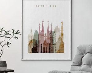 Barcelona skyline art print watercolor 1 second