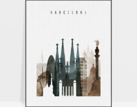 Barcelona art print watercolor 2
