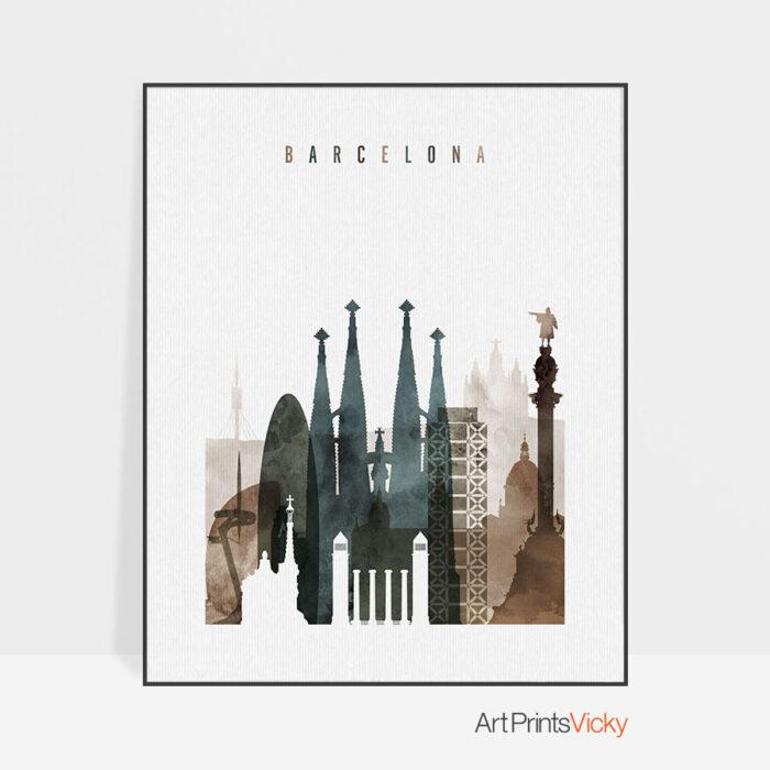 Barcelona art print watercolor 2