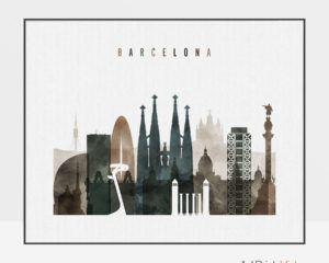 Barcelona art print watercolor 2 landscape