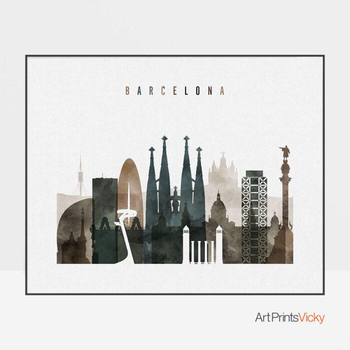 Barcelona Watercolor 2 Landscape Print
