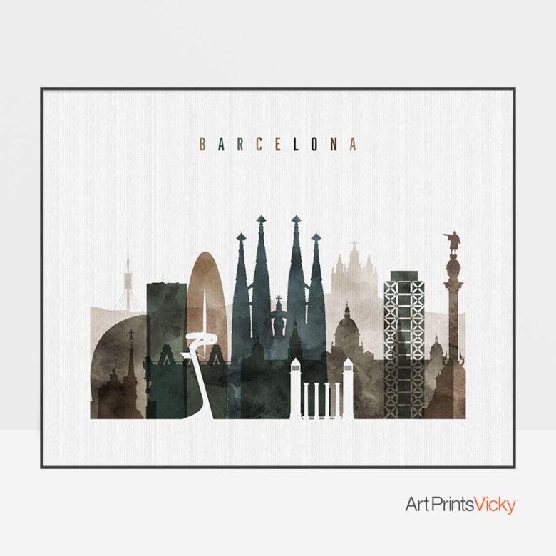 Barcelona art print watercolor 2 landscape